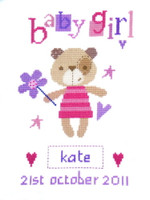 Madison Bear (Girl) Birth Sampler Cross Stitch Kit