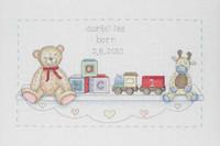 The Toy Shelf Birth Sampler Cross Stitch Kit