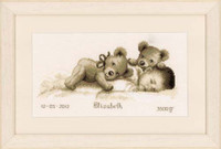Baby And Bear Birth Sampler Cross Stitch Kti