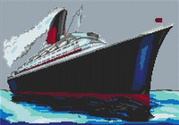 Qe2 Cruise Ship Cross Stitch Kit