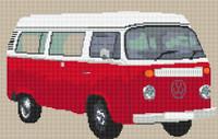 Volkswagen Camper Van Bay Window (Detailed) Cross Stitch Kit