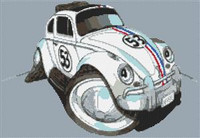 Herbie Vw Beetle Cariacture Cross Stitch Kit