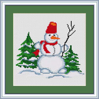 Snowman With Twig Cross Stitch Kit By Luca S