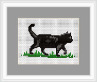 Black Cat Mini Cross Stitch Kit By Luca S