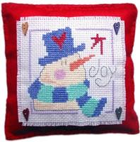 Snowman Cushion Cross Stitch Kit
