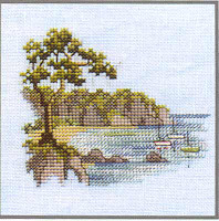 Headland Cross Stitch Kit On Linen