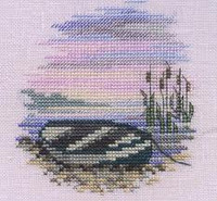 Minuets Rowing Boat Cross Stitch Kit On Linen