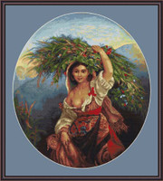 Italian Lady With Flowers Cross Stitch Kit By Luca S