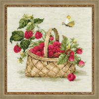 Basket With Raspberries Counted Cross Stitch Kit By Riolis
