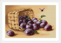 Basket Of Plums Cross Stitch Kit By Luca S