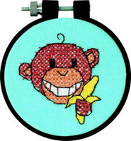 Monkey Learn A Craft Stamped Kids Cross Stitch Kit
