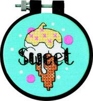 Sweet Ice Cream Learn A Craft Stamped Kids Cross Stitch Kit