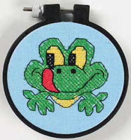 Friendly Frog Learn A Craft Stamped Kids Cross Stitch Kit