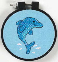 Dolphin Delight Learn A Craft Stamped Kids Cross Stitch Kit