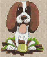 Springer Spaniel Puppy Caricature Cross Stitch Chart