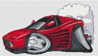 Ferrari Testarossa Caricature Cross Stitch Chart
