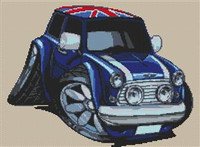 Mini Cooper Union Jack Roof Cross Stitch Chart