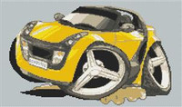 Smart Car Roadster Cross Stitch Chart