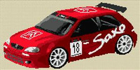 Citroen Saxo Rally Car Cross Stitch Chart