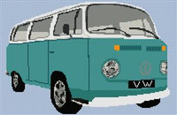 Volkswagen Camper Van Bay Window Cross Stitch Chart