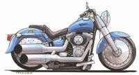 Harley Davidson Fat Boy Caricature Cross Stitch Chart