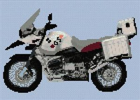 Bmw Gs 2006 Red & Silver Motorcycle Cross Stitch Chart