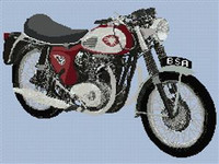 Bsa Super Lightening Motorcycle Cross Stitch Chart