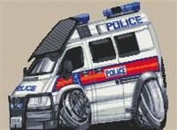 Police Transit Van Cross Stitch Chart