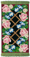 Rose Lattice Burgundy Rug/Wall Hanging Cross Stitch Kit