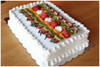 White Sheet Cake With Fruits -1/4 Sheet