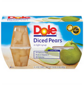 Dole Fruit Bowls Diced Pears in Light Syrup - 4 pk