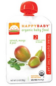 Happy Baby Organic Baby 2nd Food - Spinach, Mango & Pear