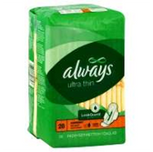Always Ultra Thin Over Night Pads W/ Wings Jumbo Pack - 28 Ct