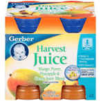 Gerber Harvest Juice Mango Puree Pineapple Carrot Blend- 4/4oz