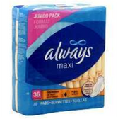 Always Maxi Overnight Pads With Wings - 36 Count