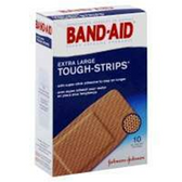 Band Aid Extra Long Tough Strips Adhesive Bandages - 10 Count