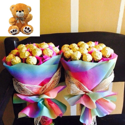 FAMILY PACKAGE: 2 x 15 Ferrero Bouquet & Teddy Bear