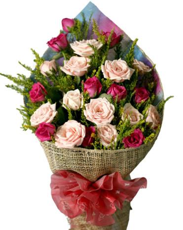 24 Fuchsia & Baby Pink Roses