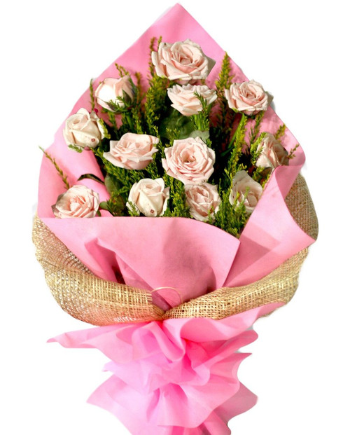 12 Light Pink Roses Bouquet - Flower Delivery Philippines