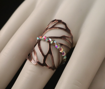 Copper colored henna leaf ring by Marianna Harutunian