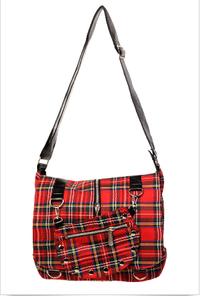 Tartan Messenger Bag - Red