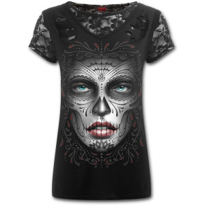 Day of the dead - 2in1 ripped black lace top