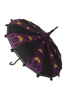 Apple queen umbrella - purple, black on yellow