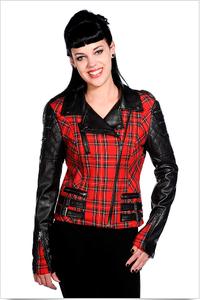 Red tartan faux leather jacket