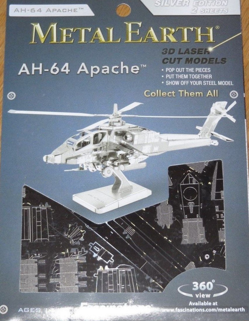 AH-64 Apache Helicopter Metal Earth