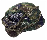 Unknown: Metal Helmet w/ Green Camo Cloth Cover
