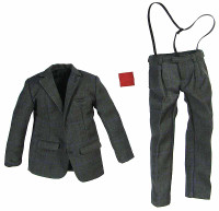 CEO - Dark Grey Textured Suit w/ Suspenders and Hankie