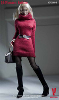Women's Turtleneck Sweater Sets - Boxed Accessory Set B (Red)