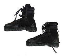 Black Storm Guard - Black Leather Lace-Up Boots (For Feet)