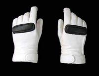 Racing Girls - Gloved Hands White w/ Black Stripes